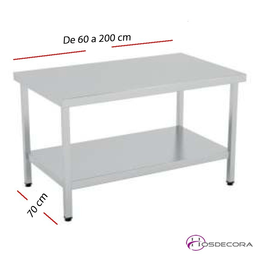 Mesa de trabajo con Estante SOLDADAS fondo 70 cm- Largo de 60 a 200 cm.