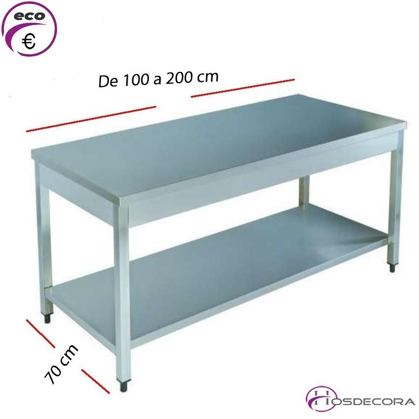 Mesa acero inox Central con estante 100 x 60 cm