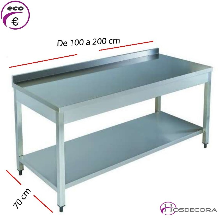 Mesa acero inox Mural con estante desde 100 x 70 cm
