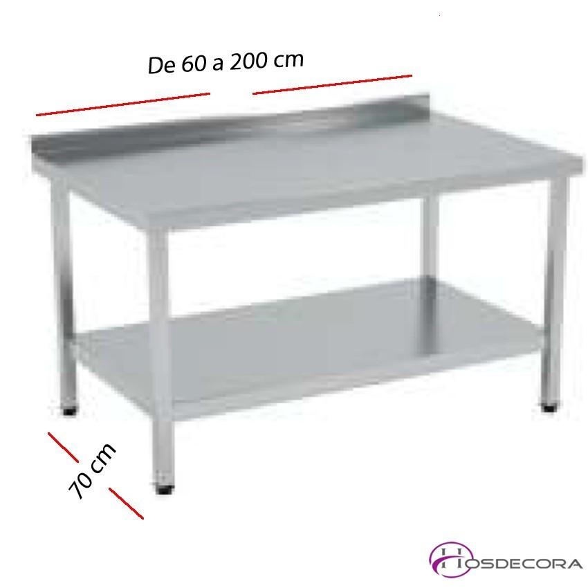 Mesa de trabajo Peto-estante SOLDADAS fondo 70 cm- Largo de 60 a 200 cm.