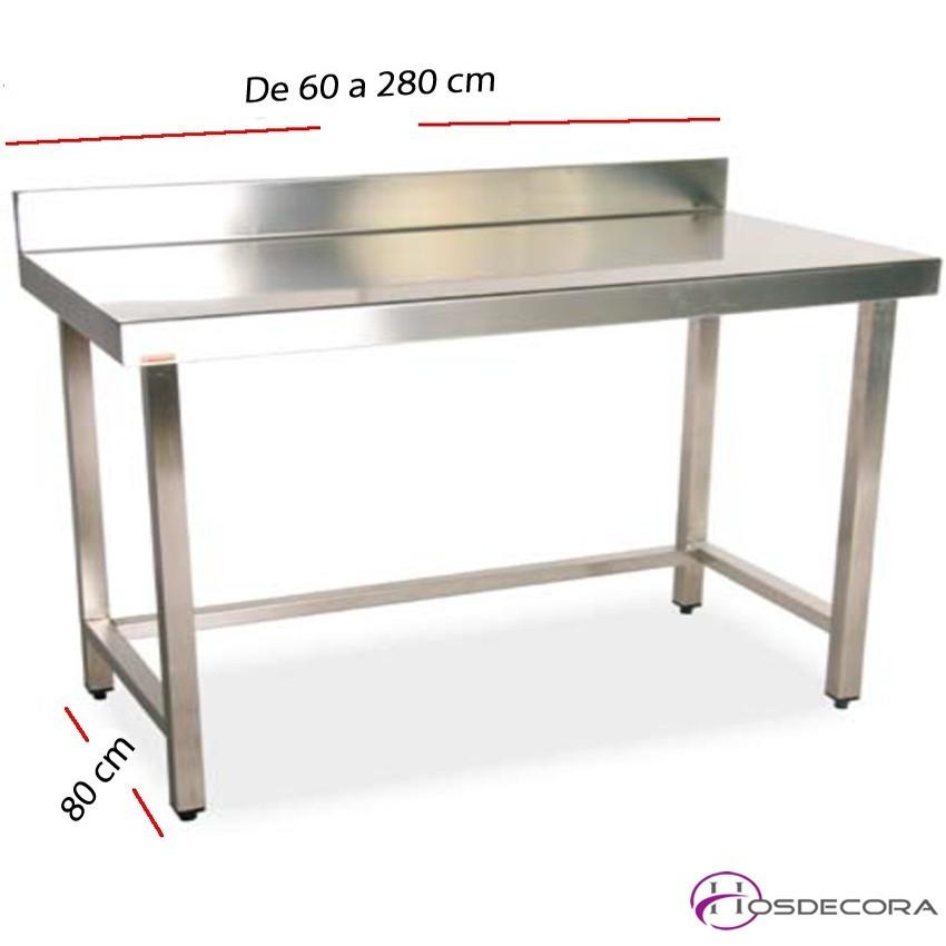 Mesa de trabajo con peto fondo 80 cm- Largo de 60 a 280 cm.