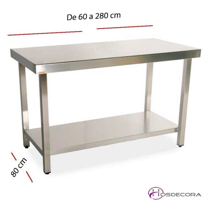 Mesa de trabajo estante fondo 80 cm- Largo de 60 a 280 cm.