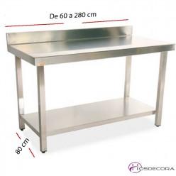 Mesa de trabajo estante y peto fondo 80 cm- Largo de 60  a 280 cm.