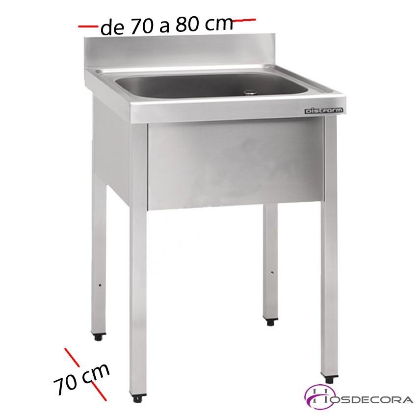 Fregadero inox de 100 a 140 x 70 cm sin estante - 1 Cubeta