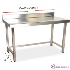 Mesa de trabajo con peto fondo 90 cm- Largo de 60  a 280 cm.
