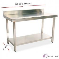 Mesa de trabajo estante y peto fondo 90 cm- Largo de 60  a 280 cm.