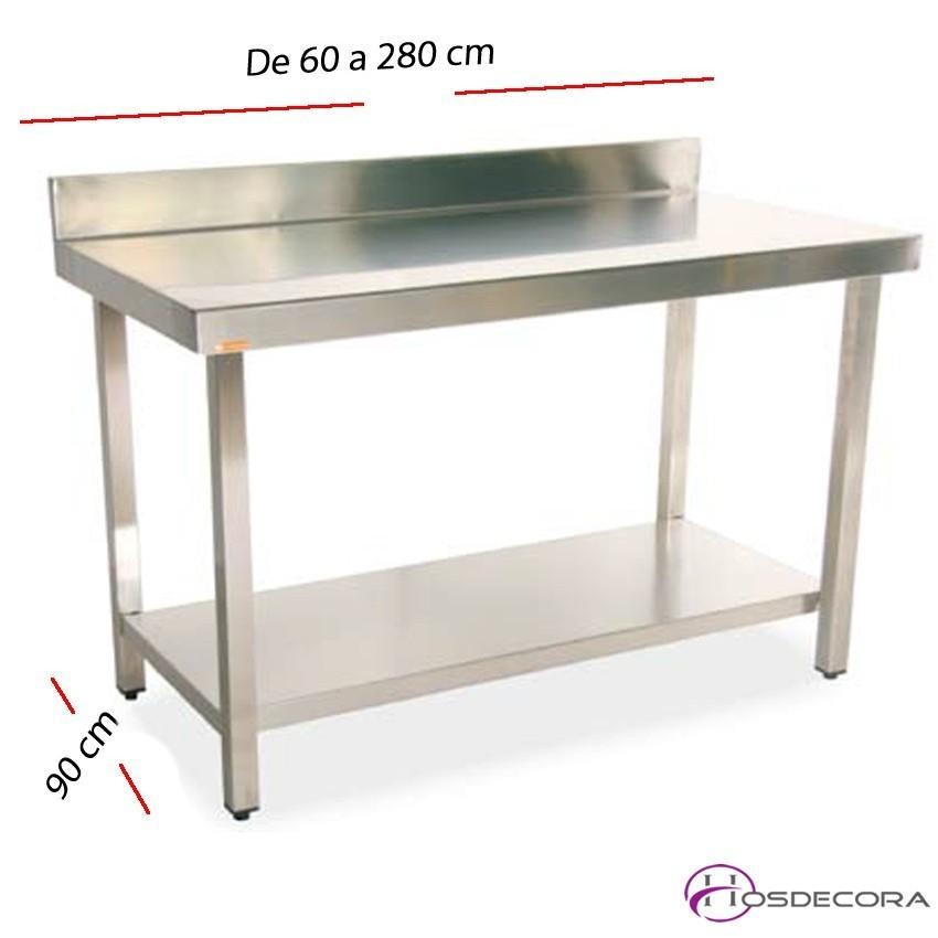 Mesa de cocina para trabajo y estante con fondo 90 cm