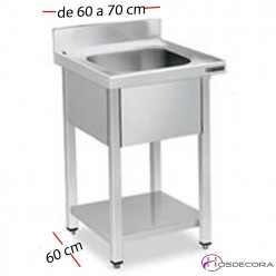 Fregadero inox con estante de 70 ó 80 x 70 cm de profundo - 1 Cubeta