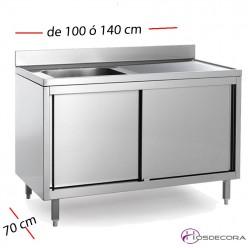 Fregadero inox con estante de 70 cm y largo 100 a 140  - 1 Cubeta