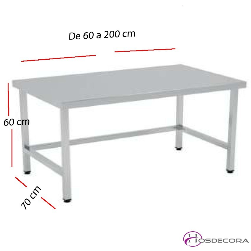 Mesa BAJA de trabajo MONTADAS fondo 70 cm- Largo de 60 a 200 cm.