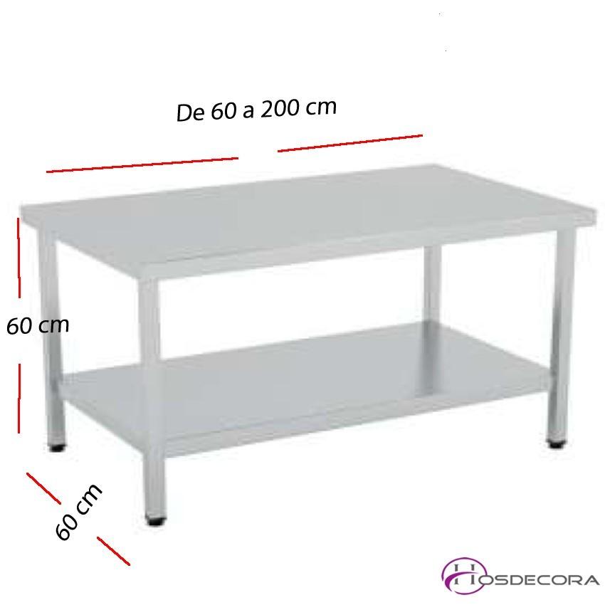 Mesa BAJA con estante MONTADAS fondo 60 cm- Largo de 60 a 200 cm.