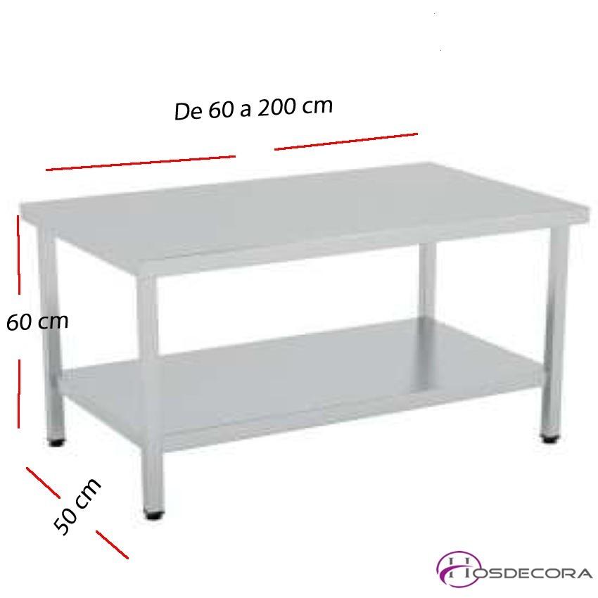 Mesa baja con estante SOLDADAS fondo 50 cm- Largo de 60 a 200 cm.