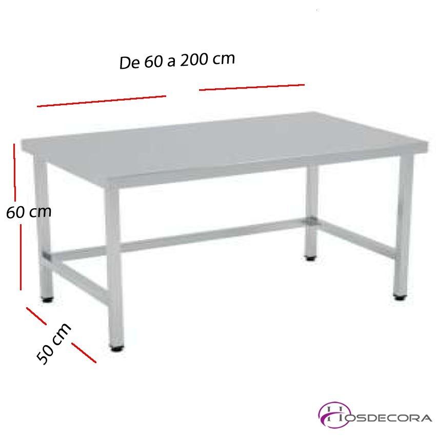 Mesa baja de trabajo SOLDADAS fondo 50 cm- Largo de 60 a 200 cm.