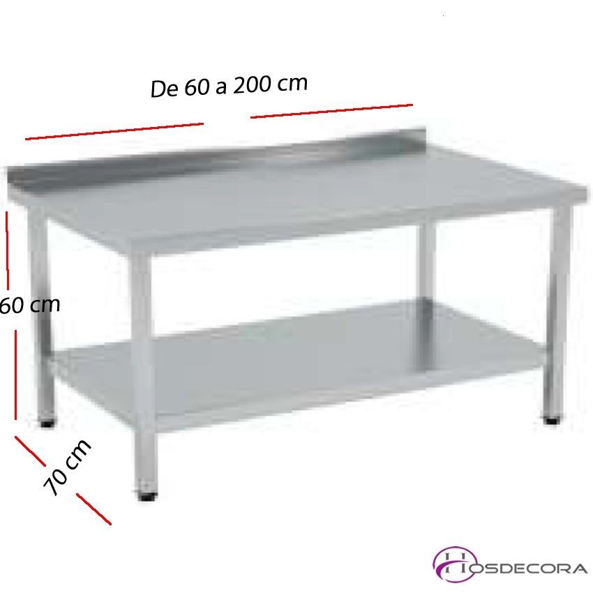 Mesa BAJA peto- estante MONTADAS fondo 70 cm- Largo desde 60 cm