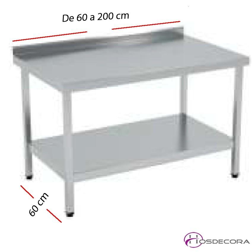 Mesa de trabajo Peto-estante SOLDADAS fondo 60 cm- Largo de 60 a 200 cm.