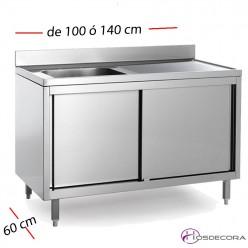 Fregadero con puertas de 70 cm y largo 100 a 140  - 1 Cubeta