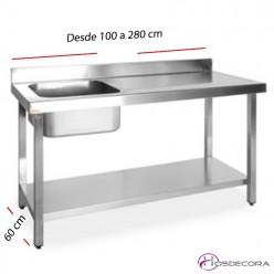 Mesa inox con cubeta y estante desde 100 x fondo 60 cm