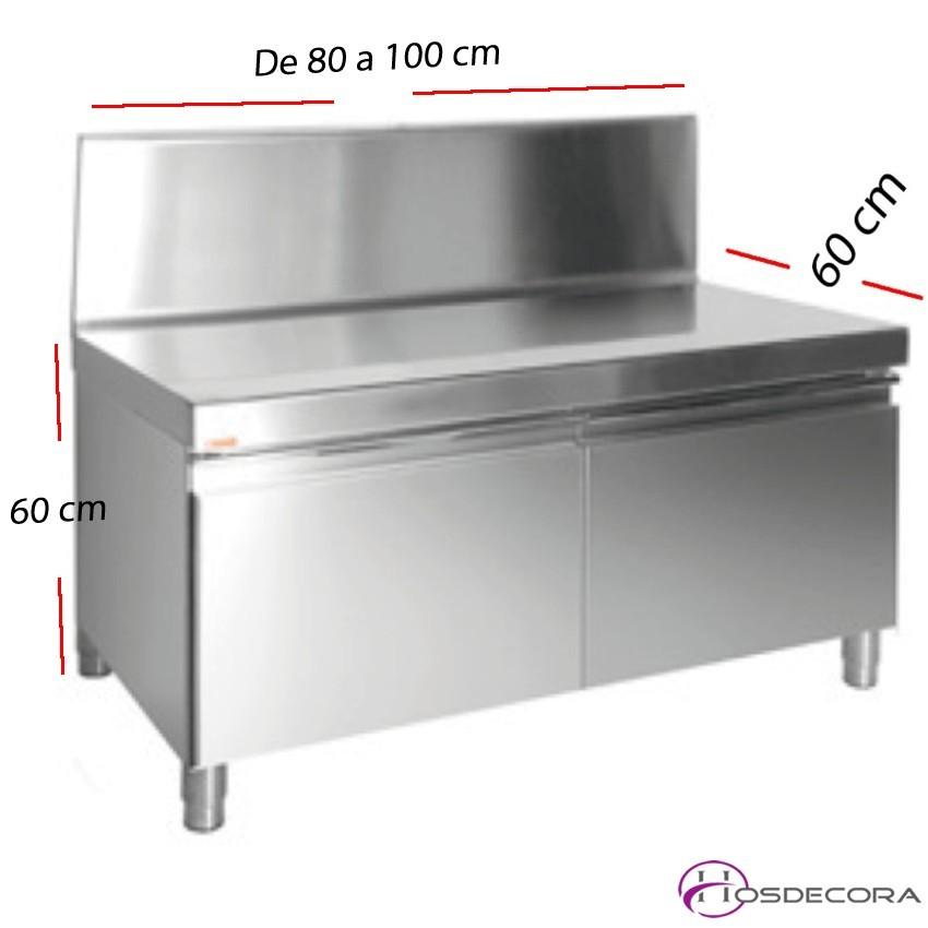 Mesa de cocina industrial baja de plancha y freidoras