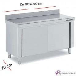 Mesa inox cerrada con puertas correderas 200 x 70 cm F0070111