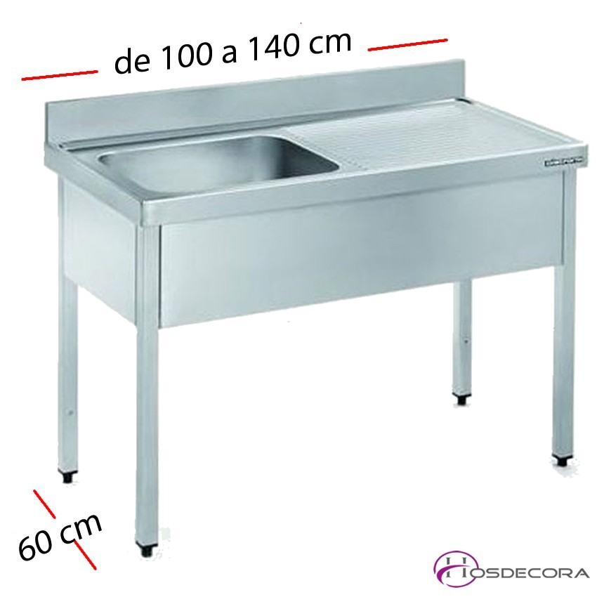 Fregadero inox 80 x 50 cm sin estante - 1 Cubeta esc Dcha