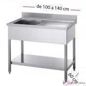 Fregadero inox  100 x 60 cm con estante - 1 Cubeta esc Dcha