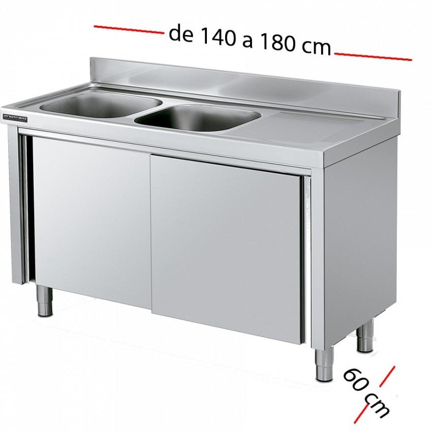 Fregadero inox 140 x 60 cm con puertas - 2 Cubetas esc Izda