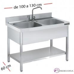 Fregadero inox  80 x 50 cm Con estante - 2 cubetas