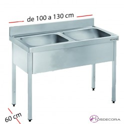 Fregadero inox  80 x 50 cm sin estante - 2 Cubeta