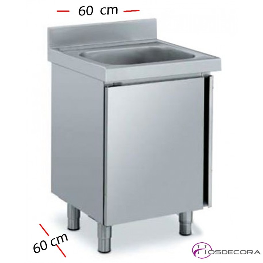 Fregadero inox con estante de 60 ó 70 x 60 cm de profundo - 1 Cubeta