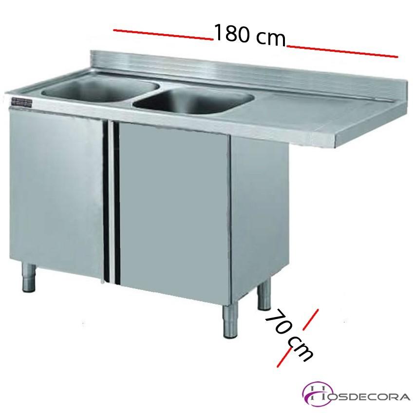 Fregadero inox para lavavajillas cerrado 180 x 60 cm -2 pozas