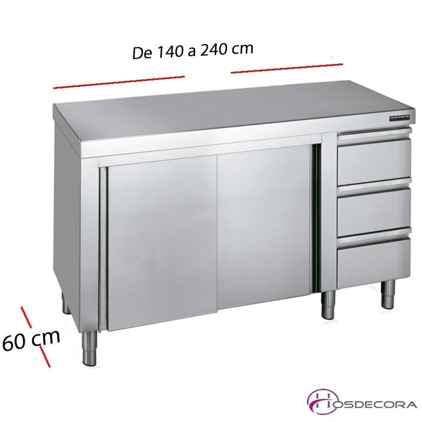 Mesa inox puertas correderas 140 x 60 cm F0070003
