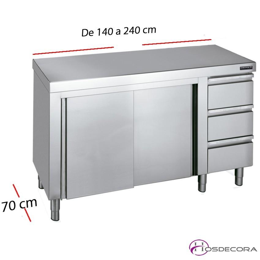 Mesa inox puertas y cajones 140 x 60 cm 02-F0071001