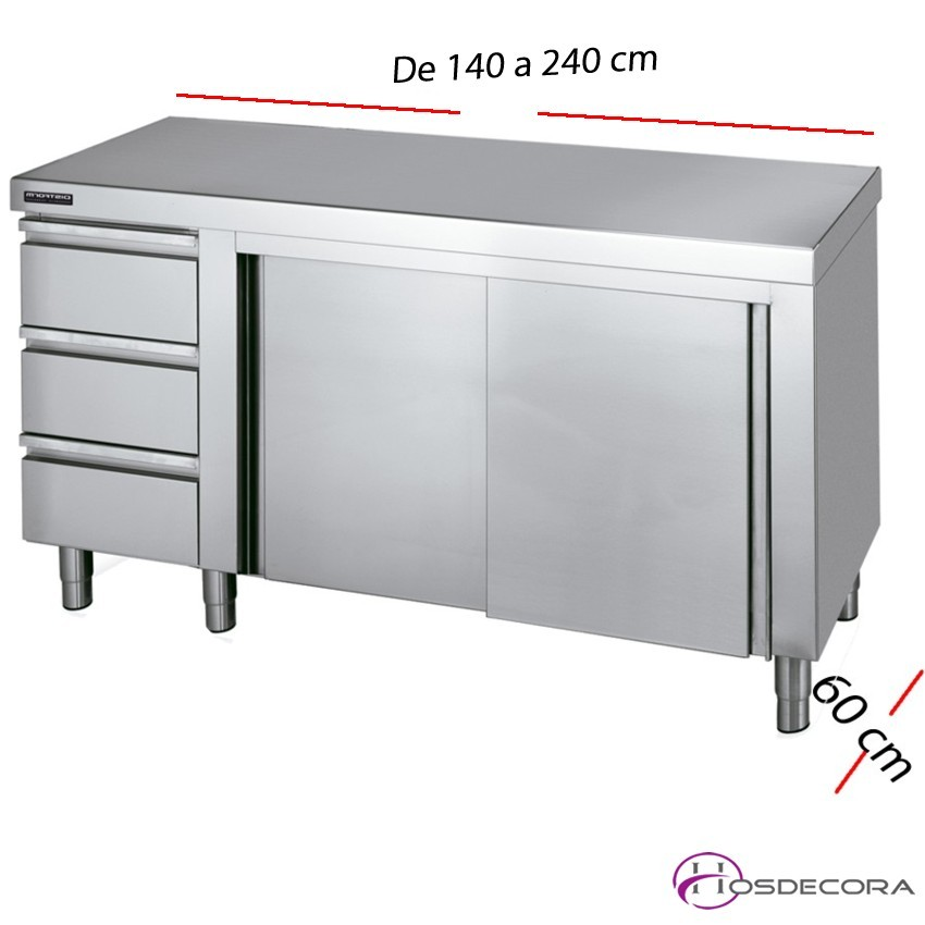 Mesa inox puertas y cajones 140 x 60 cm F0071001