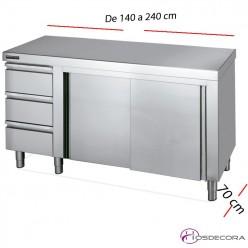Mesa inox puertas y cajones izquierda 140 x 60 cm 02-F0071011