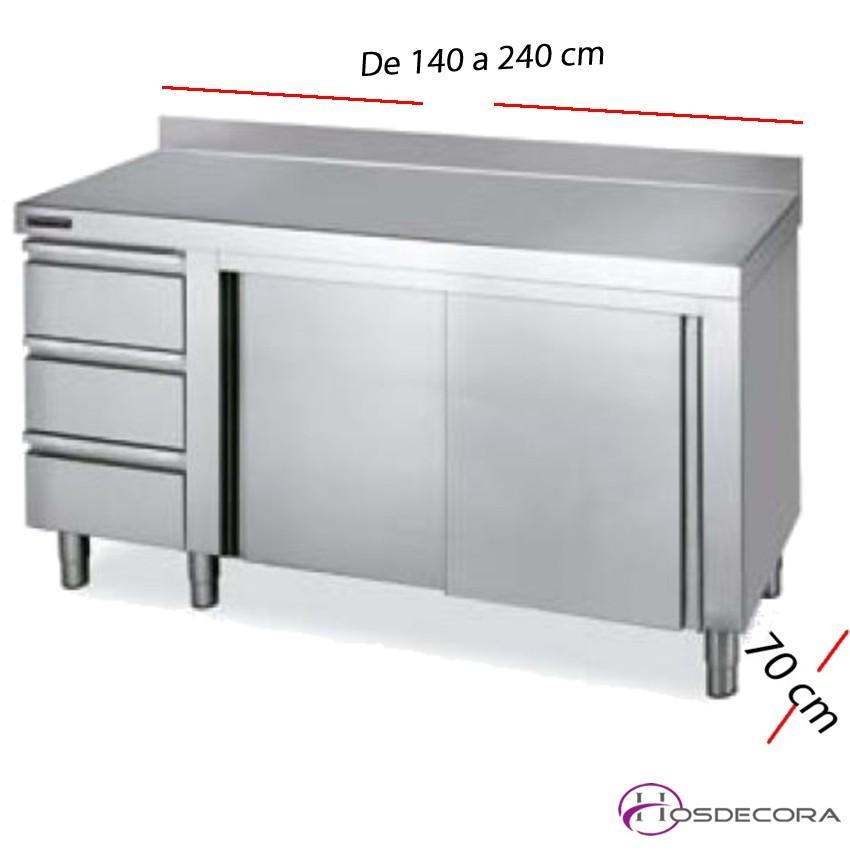 Mesa inox cajones a la izda y puertas y peto 240 x 70 cm 02-F0071136