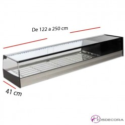 Expositor de Platos Cristal recto -122 cm VIRi -Leds