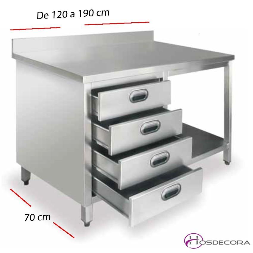 Mesa con peto de trabajo y cajones desde 120 a 190 cm.
