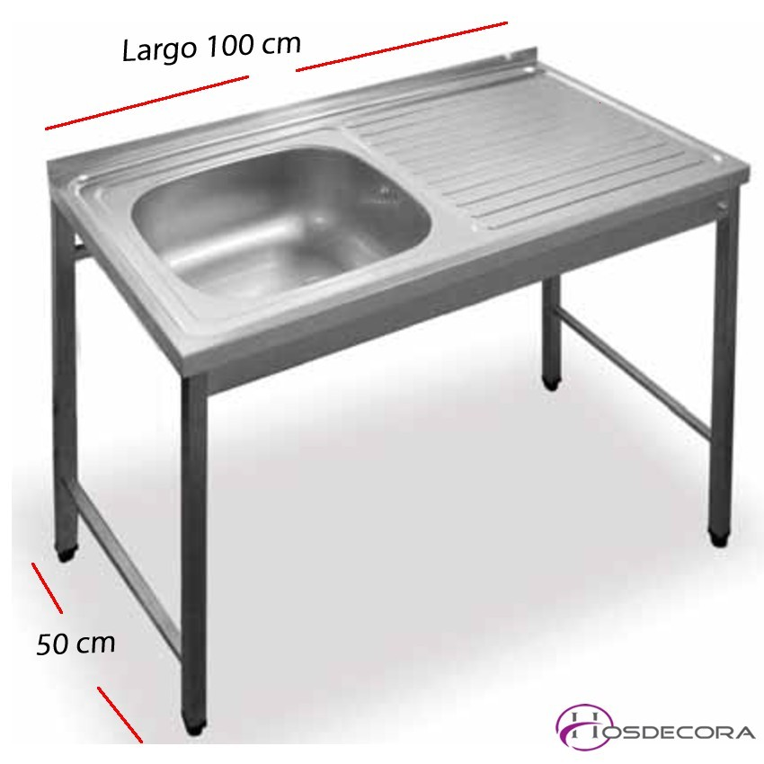 Fregadero bajo barra 100 x50 - 1 cuba + 1 escurridor