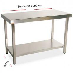 Mesa de trabajo central-estante fondo 60 cm- Largo desde 60 cm.