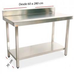 Mesa de trabajo peto-estante fondo 70 cm- Largo desde 60 cm.