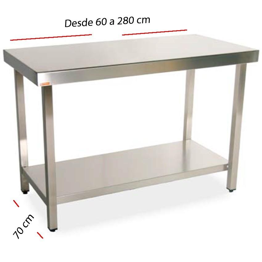 Mesa de trabajo central-estante fondo 70 cm- Largo desde 60 cm.
