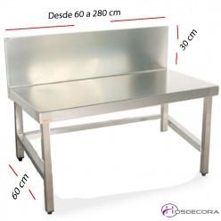 Mesa BAJA con peto fondo 60 cm- Largo desde 60 cm.