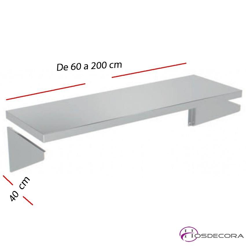Estante liso de pared fondo 40 cm- Largo de 60 a 200 cm.