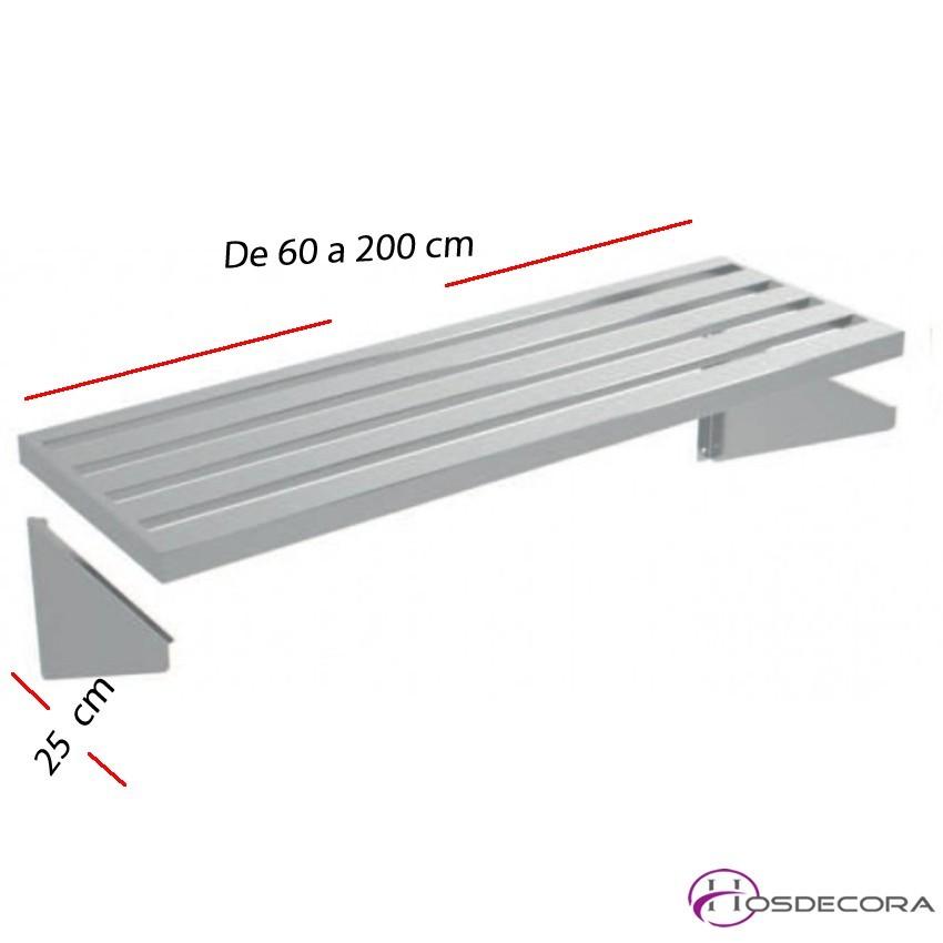 Estante perforado de pared fondo 25 cm- Largo de 60 a 200 cm.
