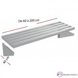 Estante perforado de pared fondo 40 cm- Largo de 60 a 200 cm.