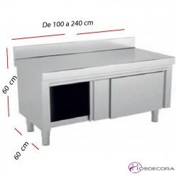 Mesa baja con peto y Puertas correderas desde 100 a 240 cm. Fondo 60 cm.