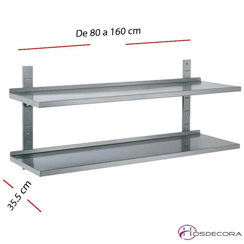 Estante de pared DOBLE de 80 a 160 cm Fondo 35.5 cm.