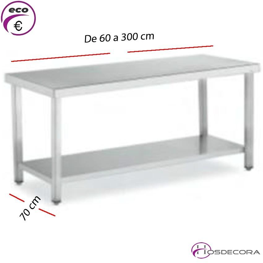 Mesa BAJA con estante Fondo 70 cm-Largo de 60 a 300 cm.