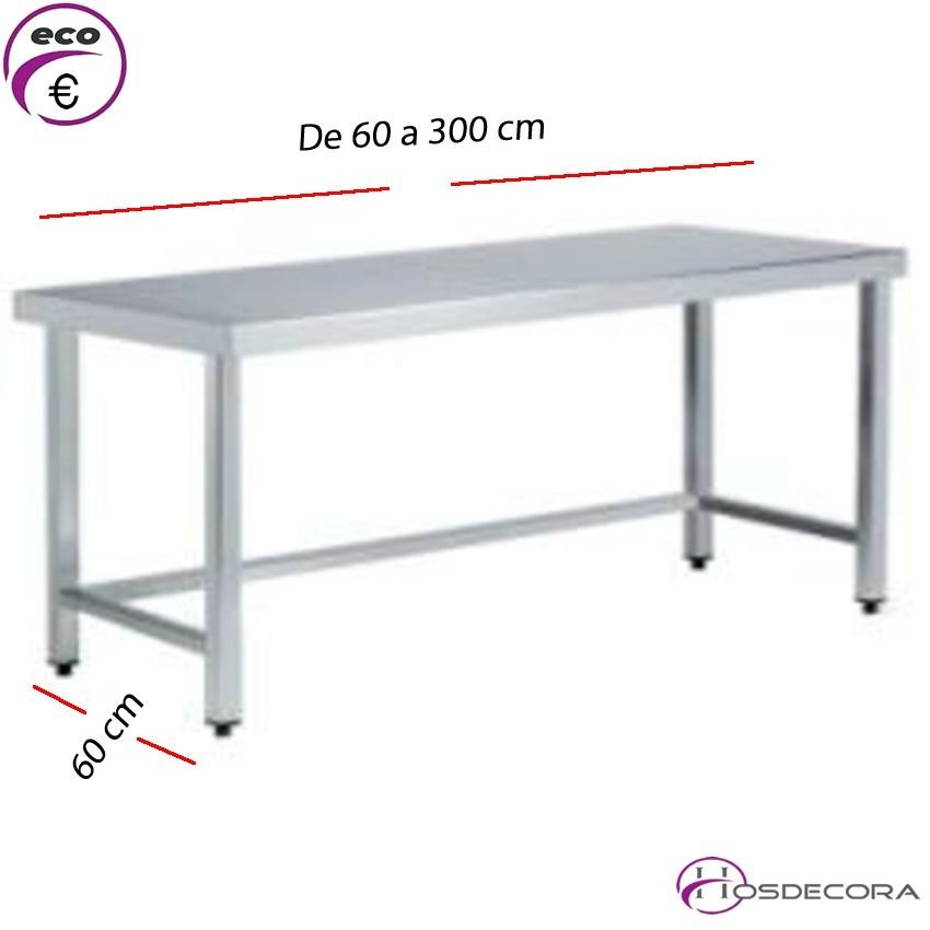 Mesa BAJA de trabajo Fondo 60 cm-Largo de 60 a 300 cm.