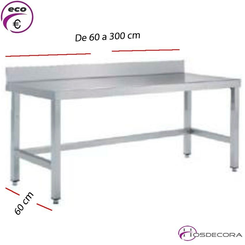 Mesa BAJA con peto Fondo 60 cm-Largo de 60 a 300 cm.